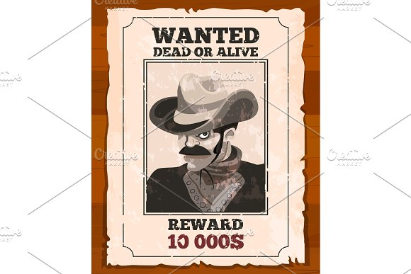Western Placard On Old Parchment Wanted Wild Bandit Vector Poster