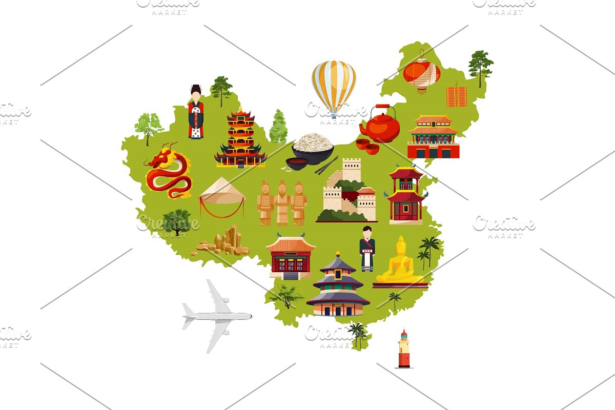 Chinese travel illustration with different cultural objects. Vector on