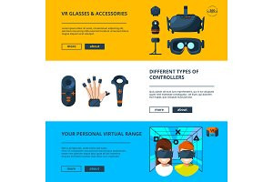Three horizontal banners set with vector illustrations of virtual reality with future technology