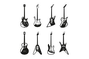 Different rock electric guitars set. Vector monochrome pictures