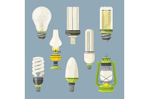 Different bulbs. Symbols of light in cartoon style. Vector illustrations isolate