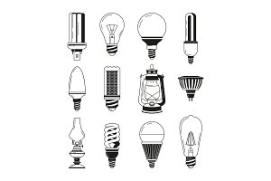 Monochrome symbols of light. Different bulbs in vector style