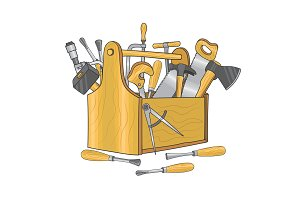 Wooden box for carpentry tools. Hand drawn vector illustration