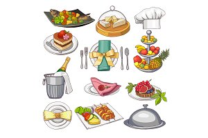 Colored illustration of restaurant food set for design menu template