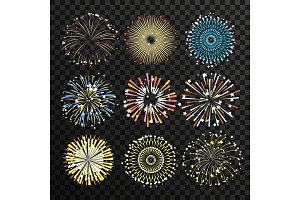 Star burst isolate on transparent background. Big fireworks vector set