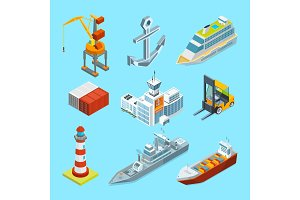Ships, boats and seaport terminal. Cargo containers and crane for loading