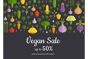 Vector flat vegetables horizontal shop, market sale background