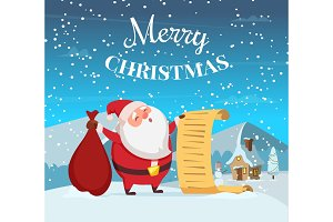 Merry christmas background illustration with funny santa. Vector design template of winter greeting card
