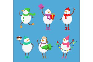 Vector mascot design of funny snowmen. Xmas characters set