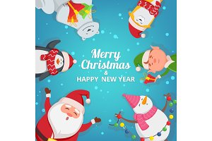 Christmas background with funny characters. Design template with place for your text