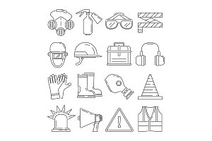 Symbols of safety work. Protection for health occupations. Vector illustrations in linear style