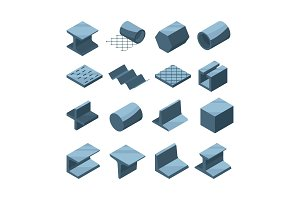 Industrial icons set of metallurgic production. Isometric pictures of steel or iron pipes