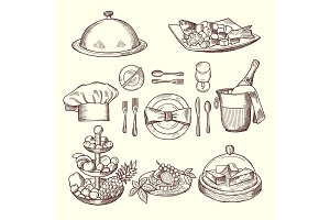Foods on dishes. Monochrome pictures for design restaurant menu