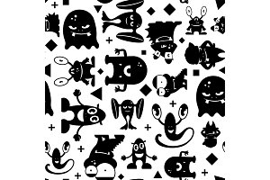 Seamless black and white pattern with monsters.