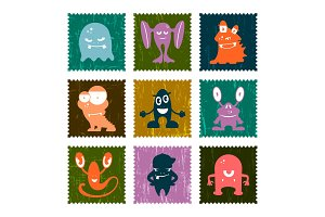 Set of retro postage stamp funny monsters. Vector set.