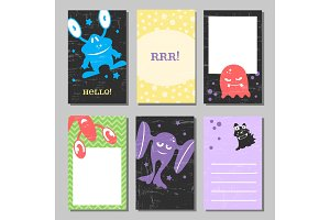 Colorful retro funny cards set with cute monsters. Templates for birthday, anniversary, party invitations, scrapbooking.