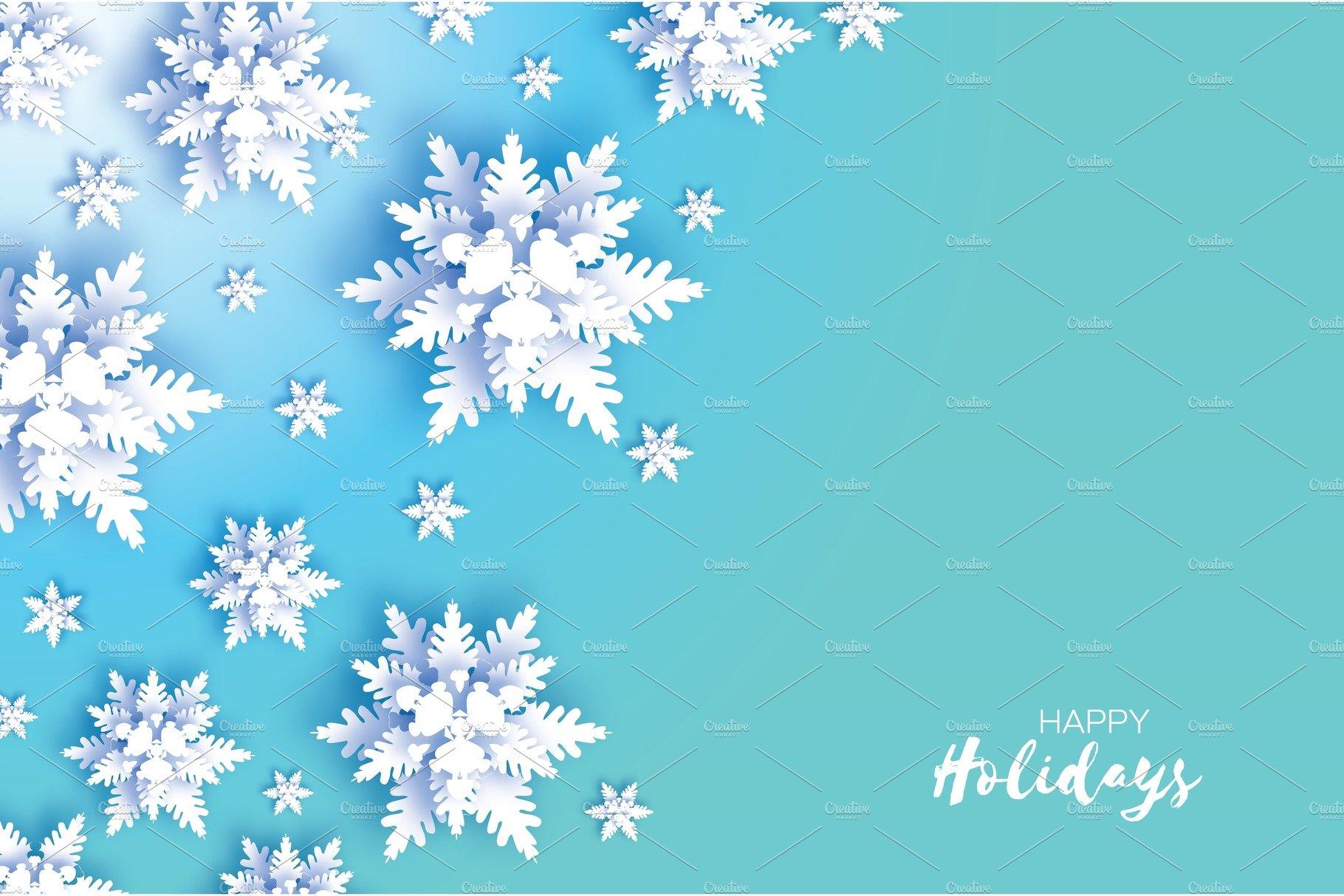 Origami Snowfall. Merry Christmas Greetings card. White ... - photo#8