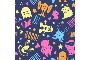 Seamless pattern with cute cartoon monsters, bubbles and words hello, monster