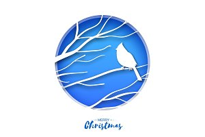 Red cardinal sitting on a branch. Merry Christmas Greeting Card.Bird sitting on a birches branch in paper cut style. Origami Fall winter. Happy holidays. Blue background.