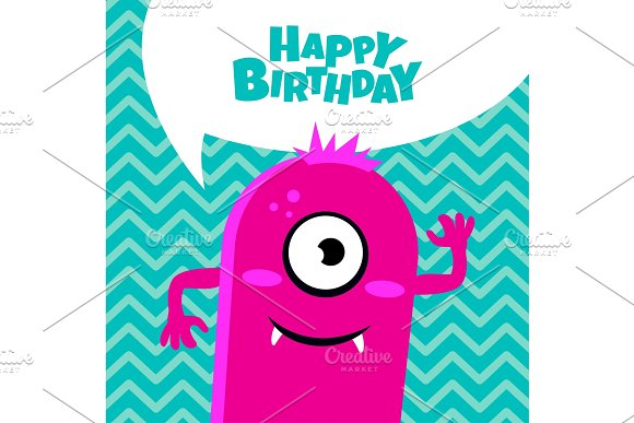 Monster Party Card Design Happy Birthday Card Graphics Creative
