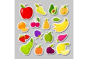 Set of cute fruits in the form of a stickers