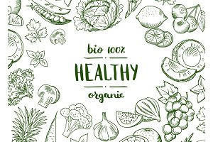 Vector horizontal doodle handdrawn fruits and vegetables vegan, healthy food background