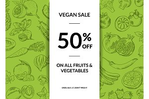 Vector doodle handdrawn farm fresh fruits and vegetables vegan shop sale background