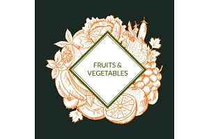 Vector doodle sketched fruits and vegetables vegan, healthy food emblem isolated on colored background