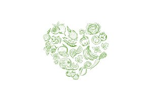 Vector sketched fresh vegetables and fruits set in shape of heart illustration