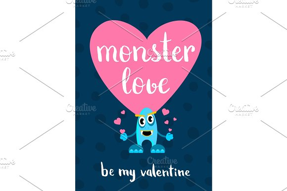 Vector Valentines Day Monster Love Card With Heart Cartoon Monster And Lettering