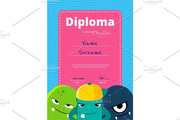 Vector children diploma or certificate with cute monsters on wavy background