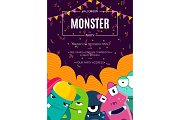 Vector Halloween party invitation poster with crowd of cute monsters, confetti and garlands