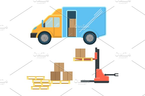 Delivery truck with postal packages and machine for cargo movement