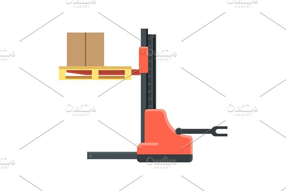 Machine for cargo boxes movement and trucks load