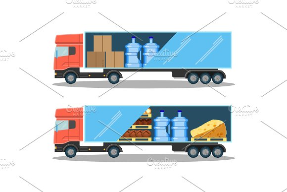 Large delivery truck with water bottles, cardboard boxes and food in Illustrations