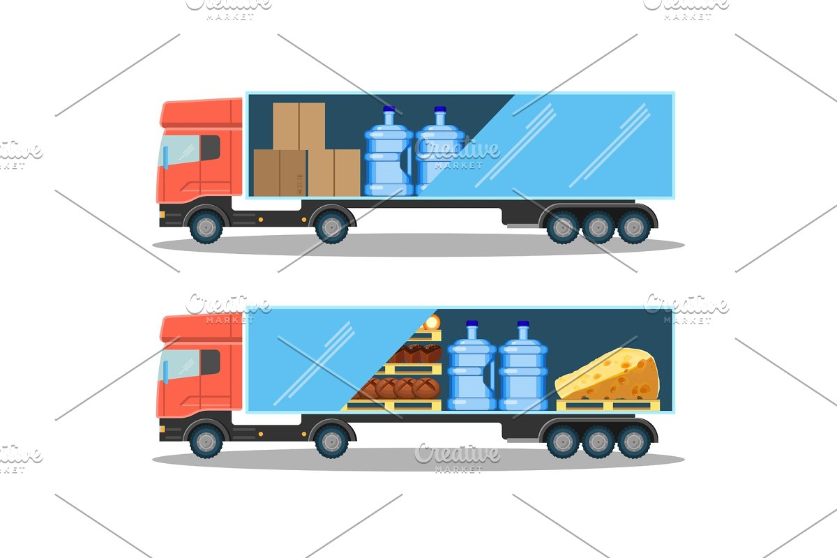 Large delivery truck with water bottles, cardboard boxes and food in Illustrations - product preview 8