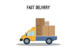 Fast delivery poster with truck full of cardboard boxes