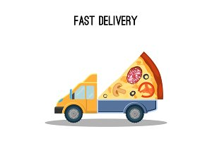Fast delivery advertisement banner with huge piece of pizza