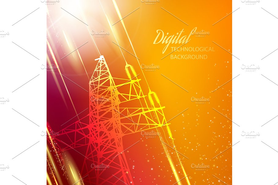 Electric power transmission tower. in Illustrations - product preview 8