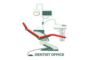 Dentist office with comfortable chair and modern equipment