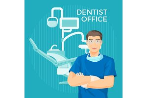 Dentist office with equipment placard on vector illustration