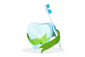 Dental care poster tooth with toothbrush on vector illustration