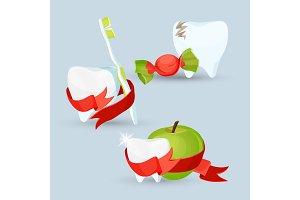 Dental care set of images on vector illustration