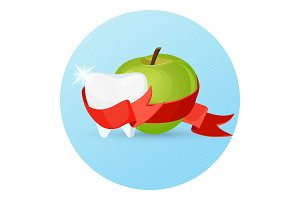 Dental care apple and tooth on vector illustration