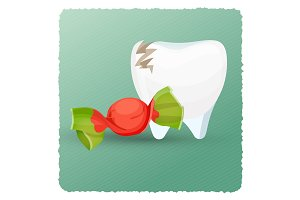Dental care tooth and candy on vector illustration
