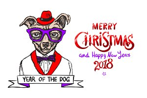 christmas dog Happy New Year 2018