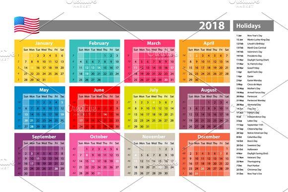 calendar 2018 official holidays usa graphics