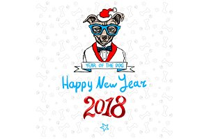 Happy 2018 New Year card dog