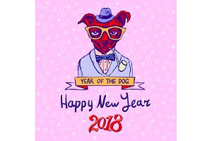 New Year 2018 Year of Dog Vector