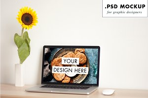 Feminine design studio laptop mockup